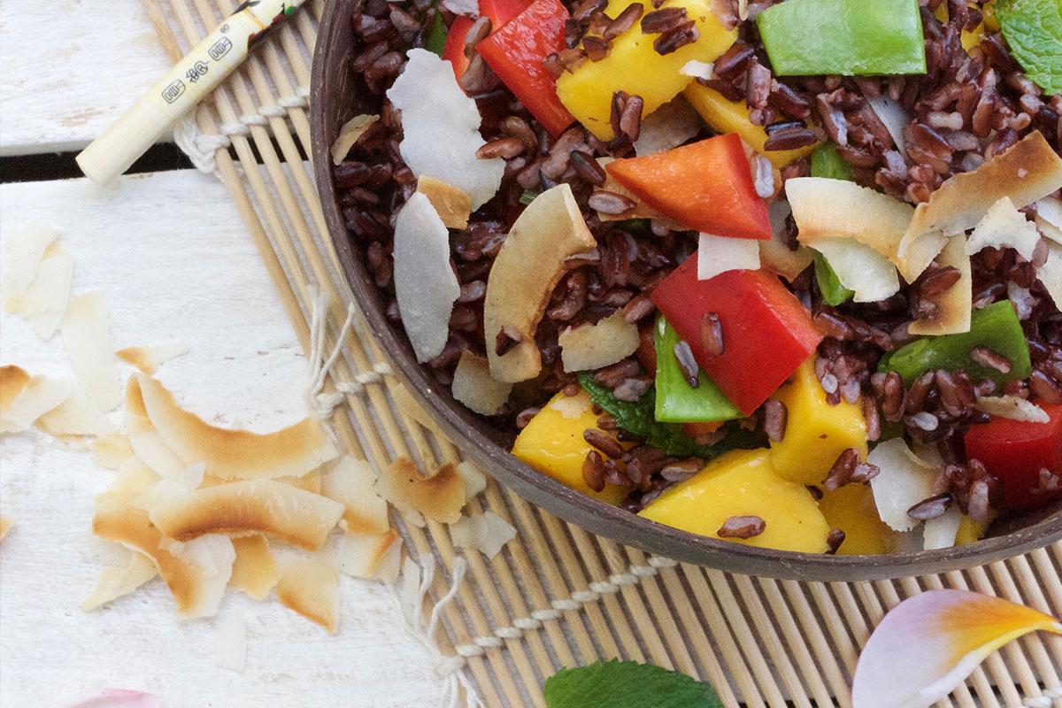 Purple Rice, Mango, Coconut Salad
