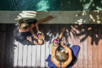 smoothie bowls by pool