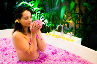 girl in rose bath