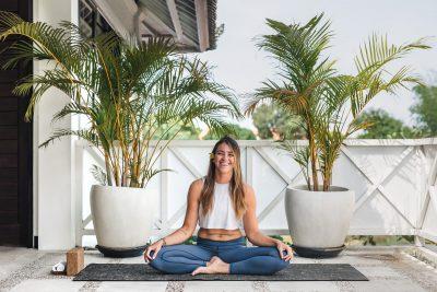 Girl laughing doing yoga